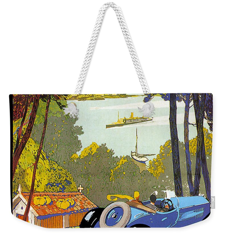 Vintage Automobile Ads And Posters Weekender Tote Bag featuring the photograph Fleuves De La Galice Automobile by Vintage Automobile Ads and Posters