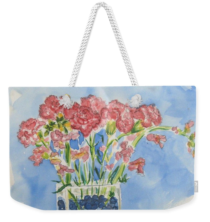 Flowers Weekender Tote Bag featuring the painting Flowers In A Vase by Mary Ellen Mueller Legault