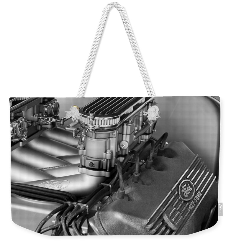 Ford Engine Weekender Tote Bag featuring the photograph Ford Engine by Jill Reger