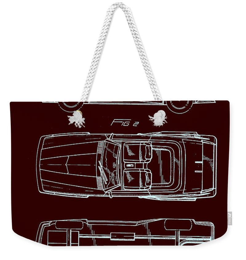Patent Weekender Tote Bag featuring the drawing Ford Mustang Automobile Body Patent 1986 1 by Mountain Dreams