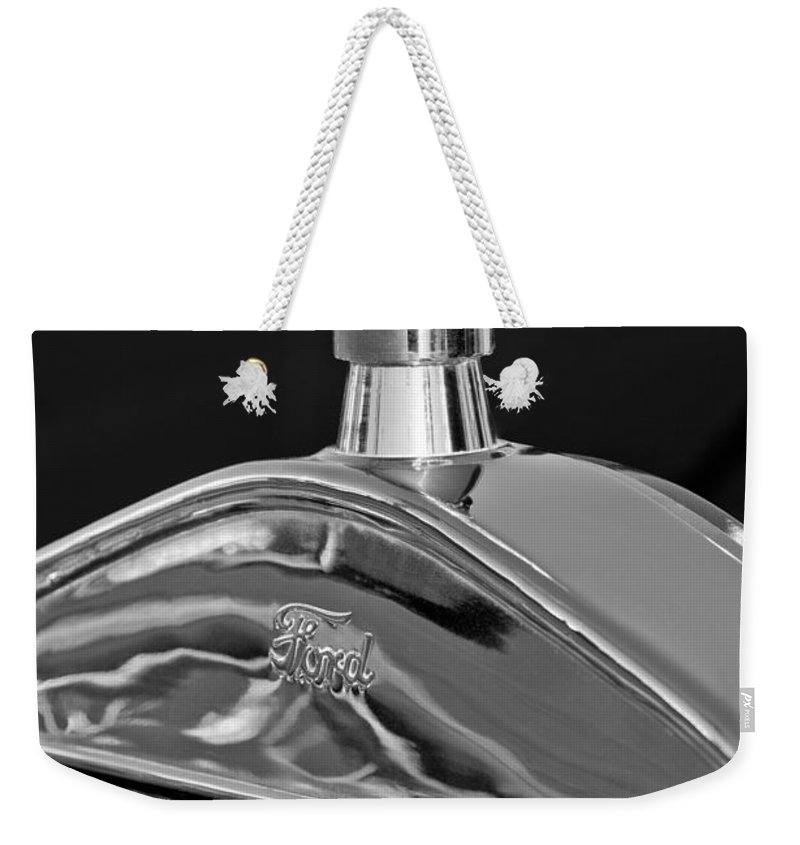 Ford Streetrod Hood Ornament. Black And White Weekender Tote Bag featuring the photograph Ford Streetrod Hood Ornament by Jill Reger