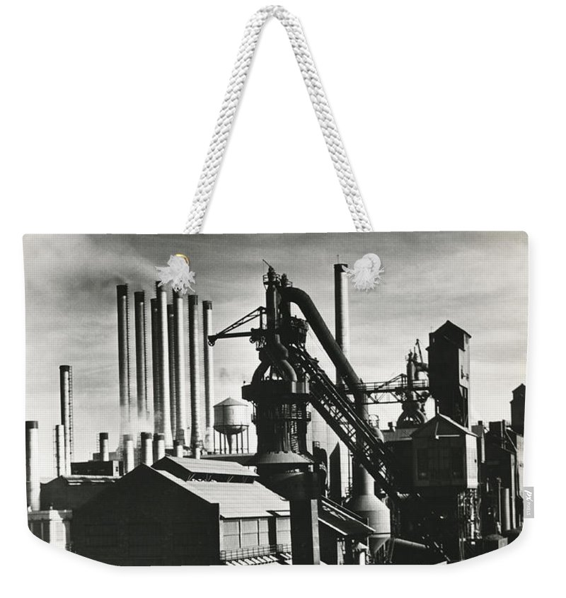 1035-660 Weekender Tote Bag featuring the photograph Ford's River Rouge Plant by Underwood Archives