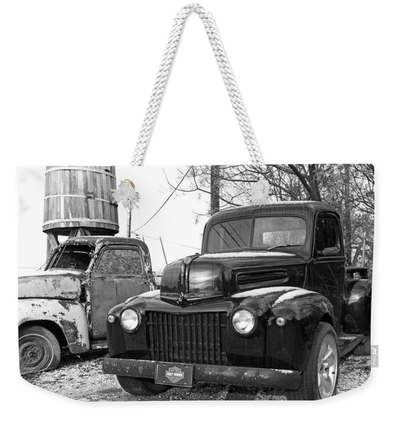 Old Trucks Weekender Tote Bag featuring the photograph Forties Ford Pickup by Jim Smith