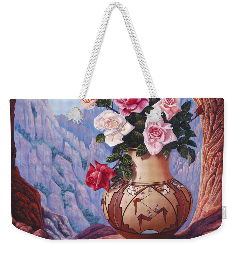Flowers Weekender Tote Bag featuring the painting Fragrance And Dew by Ricardo Chavez-Mendez