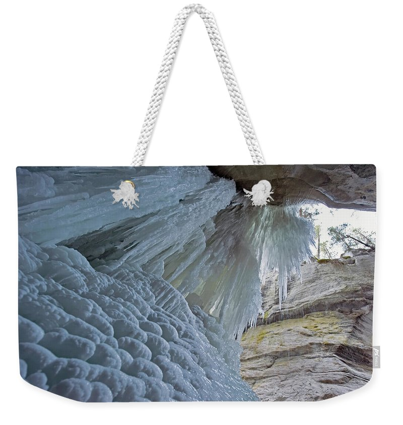 Unesco Weekender Tote Bag featuring the photograph Frozen Waterfall At Maligne Canyon by Jim Julien / Design Pics