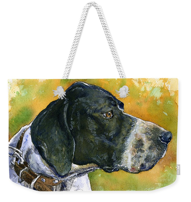Dog Weekender Tote Bag featuring the painting Full Attention by John D Benson