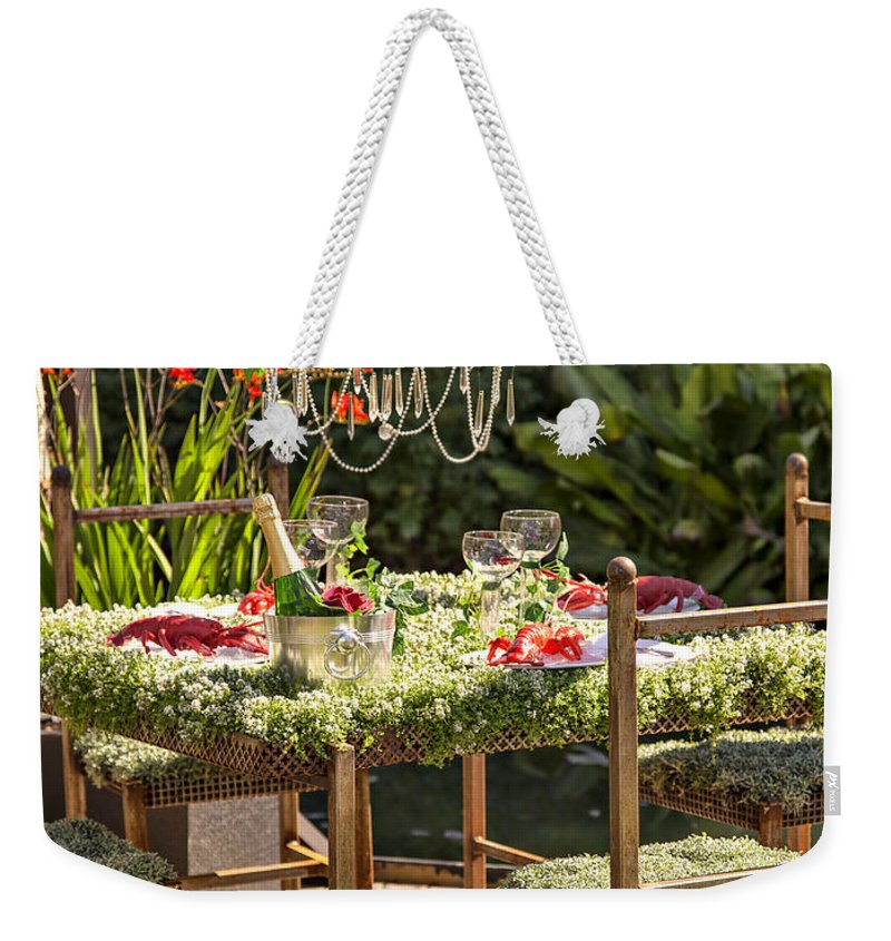 Fruit Weekender Tote Bag featuring the photograph Garden Table Setting by Sophie McAulay