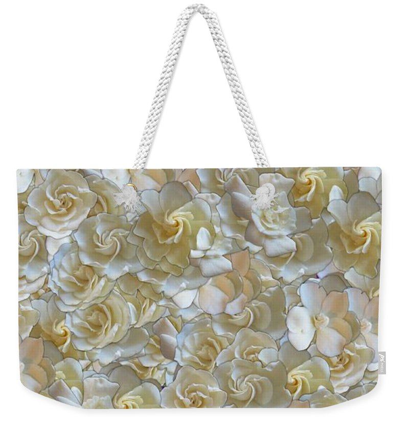 Flowers Weekender Tote Bag featuring the photograph White Gardenias by George Pedro