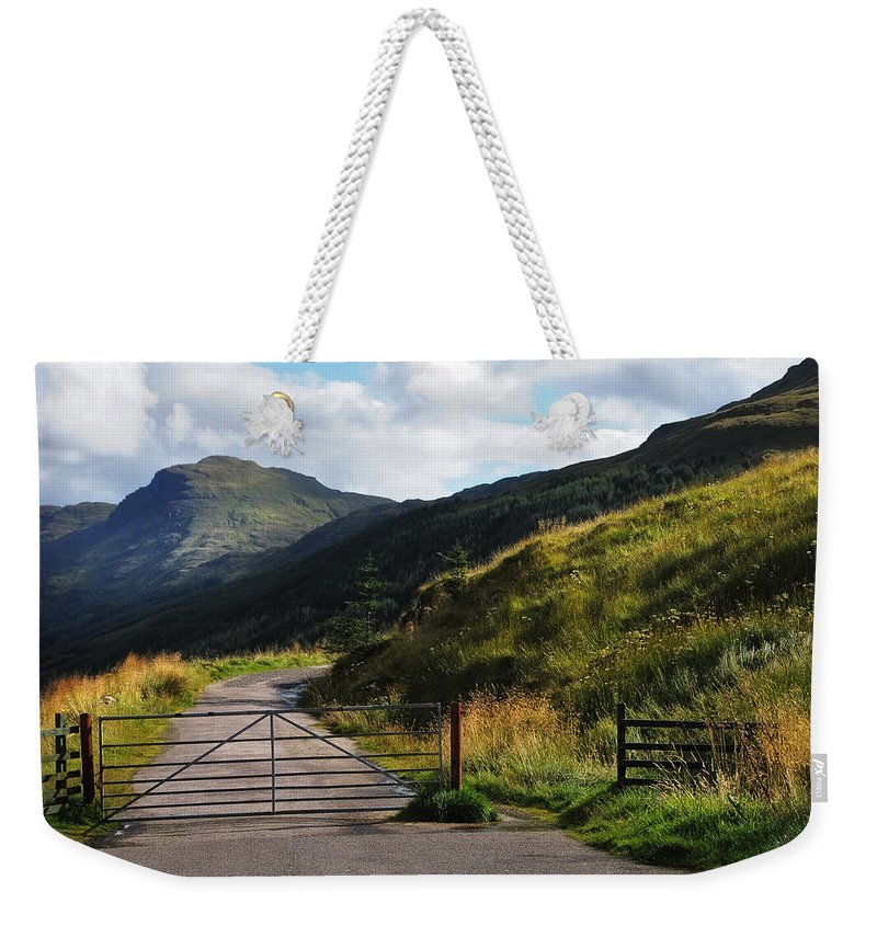 Jenny Rainbow Fine Art Photography Weekender Tote Bag featuring the photograph Gates. Rest And Be Thankful. Scotland by Jenny Rainbow