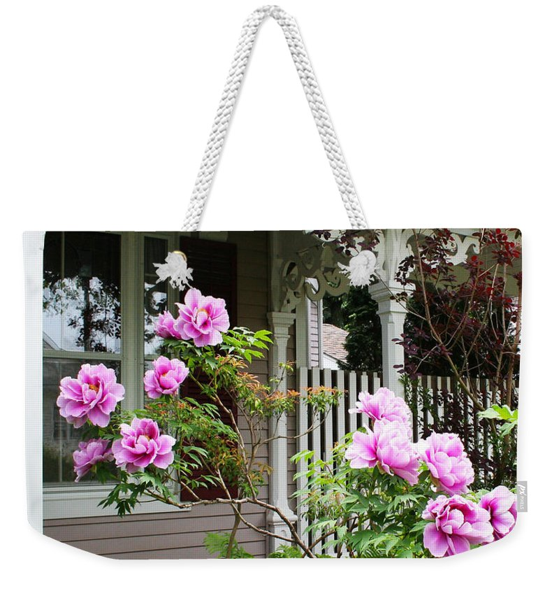 Flower Weekender Tote Bag featuring the photograph Gingerbread And Tree Peonies by Barbara McMahon
