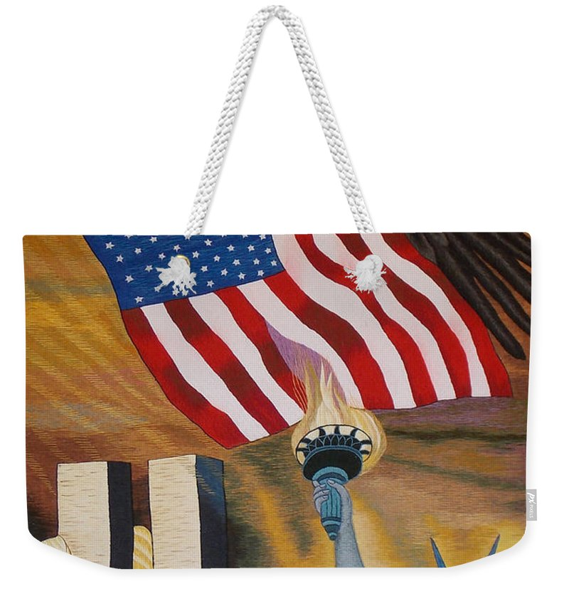 Twin Tower Weekender Tote Bag featuring the tapestry - textile God Bless America Hand Embroidery by To-Tam Gerwe