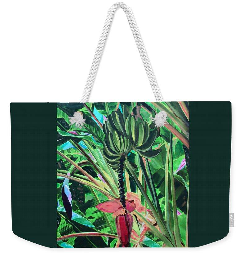 Bananas Weekender Tote Bag featuring the mixed media Going Bananas by Deborah Boyd