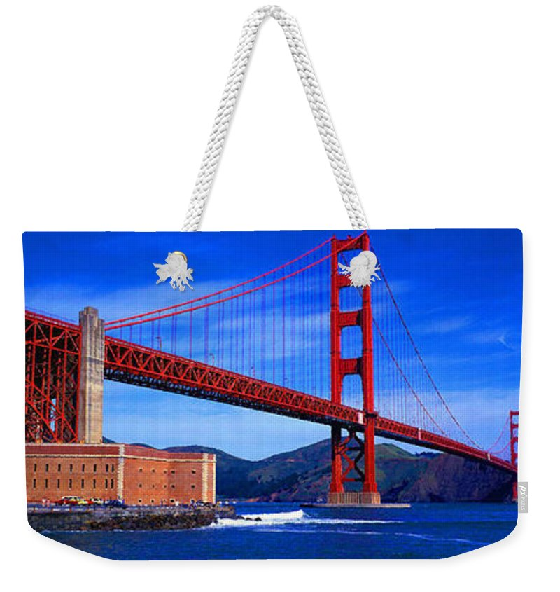 Aerial View Weekender Tote Bag featuring the digital art Golden Gate Bridge Panoramic View by Don Kuing