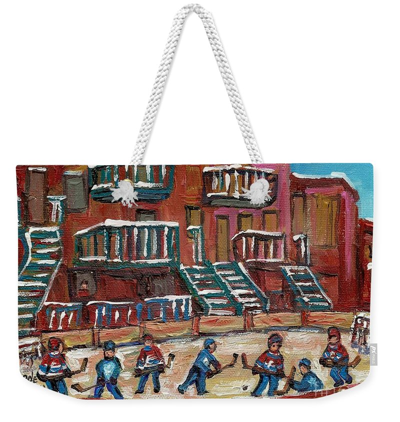 Hockey Weekender Tote Bag featuring the painting Gorgeous Day For A Game by Carole Spandau