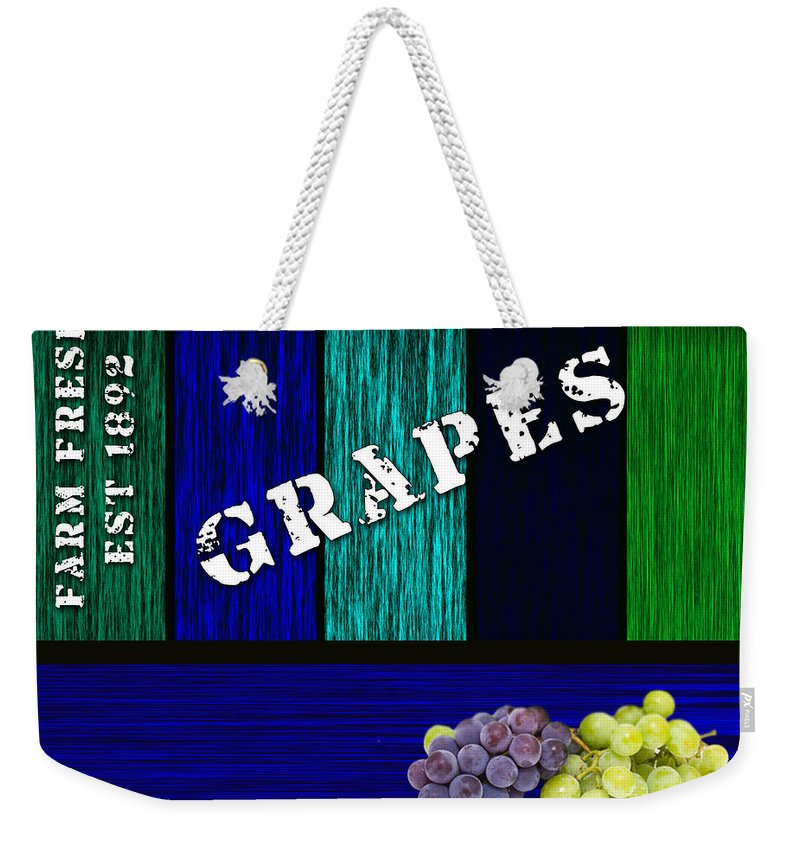Grape Weekender Tote Bag featuring the mixed media Grape Farm by Marvin Blaine