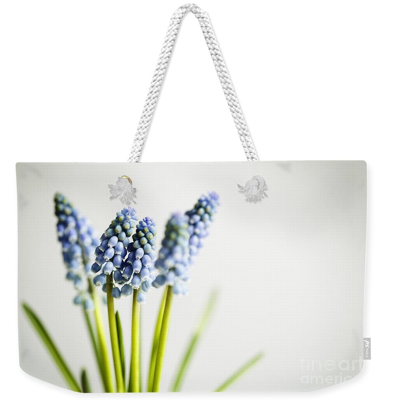 Hyacinth Weekender Tote Bag featuring the photograph Grape Hyacinth by Nailia Schwarz