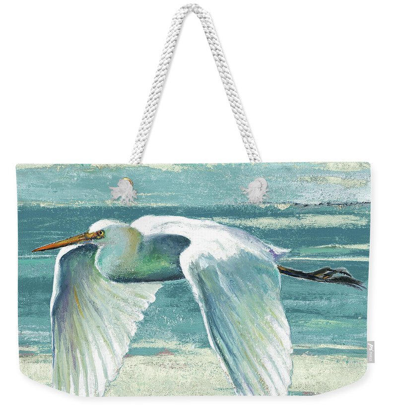 Coastal Weekender Tote Bag featuring the painting Great Egret II by Patricia Pinto