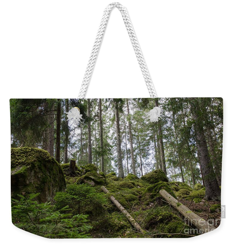 Background Weekender Tote Bag featuring the photograph Green Untouched Forest by Kennerth and Birgitta Kullman