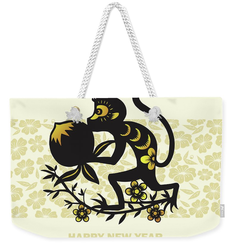 Chinese Culture Weekender Tote Bag featuring the digital art Happy New Year, Year Of The Monkey 2016 by Ly86