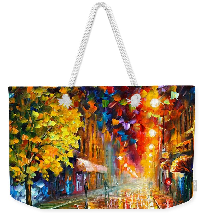 Afremov Weekender Tote Bag featuring the painting Happy Street by Leonid Afremov