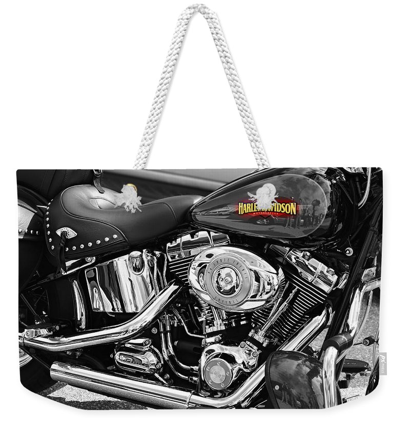 Harley Davidson America American Classic Usa Motorcycle Chrome Pipes Engine Select Color Red Black And White Monochrome Bike Red Tank Black Leather Tassel Logo Soft Tail Flathead Hog Hogs Motorcycles Motorbike Motorbikes Laura Fasulo Gift For Biker Rider Bike Lover Harley Davidson Monochrome Made In The Usa Iphone Samsung Galaxy Case Weekender Tote Bag featuring the photograph Harley Davidson by Laura Fasulo
