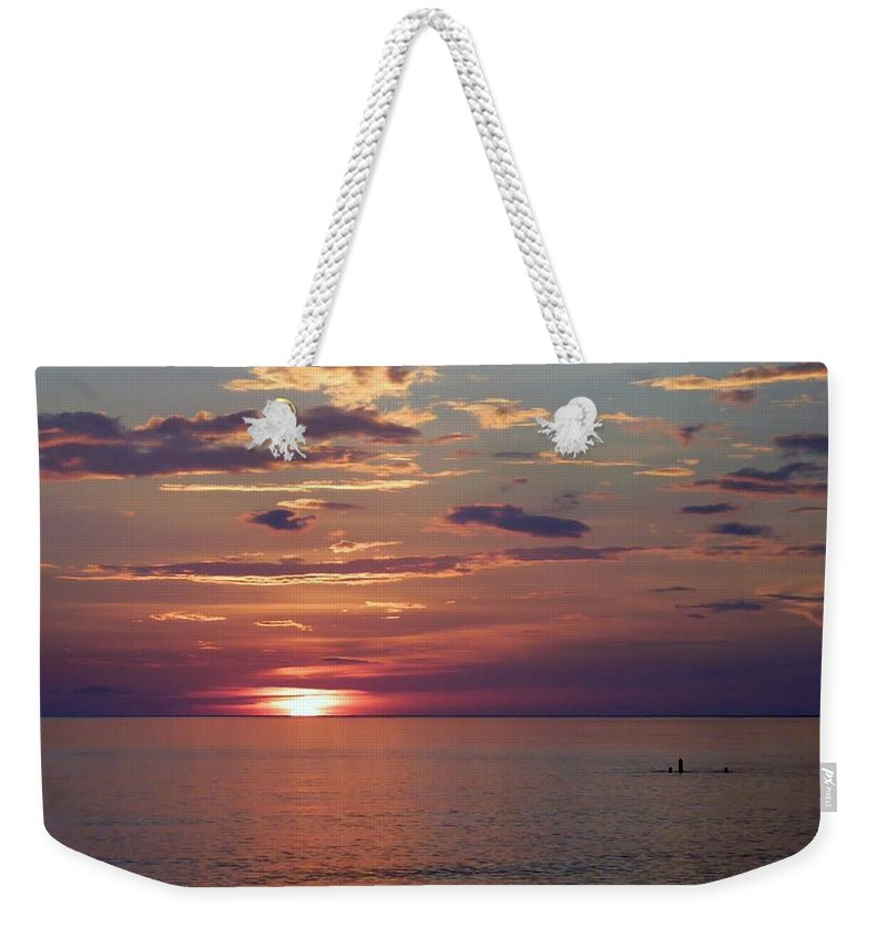 Color Weekender Tote Bag featuring the photograph Harvest Sunset by Amar Sheow