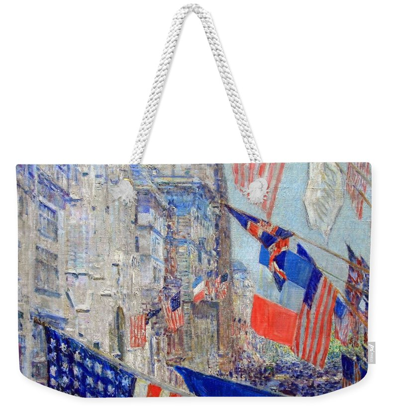Allies Day Weekender Tote Bag featuring the photograph Hassam's Allies Day May 1917 -- The Avenue Of The Allies by Cora Wandel