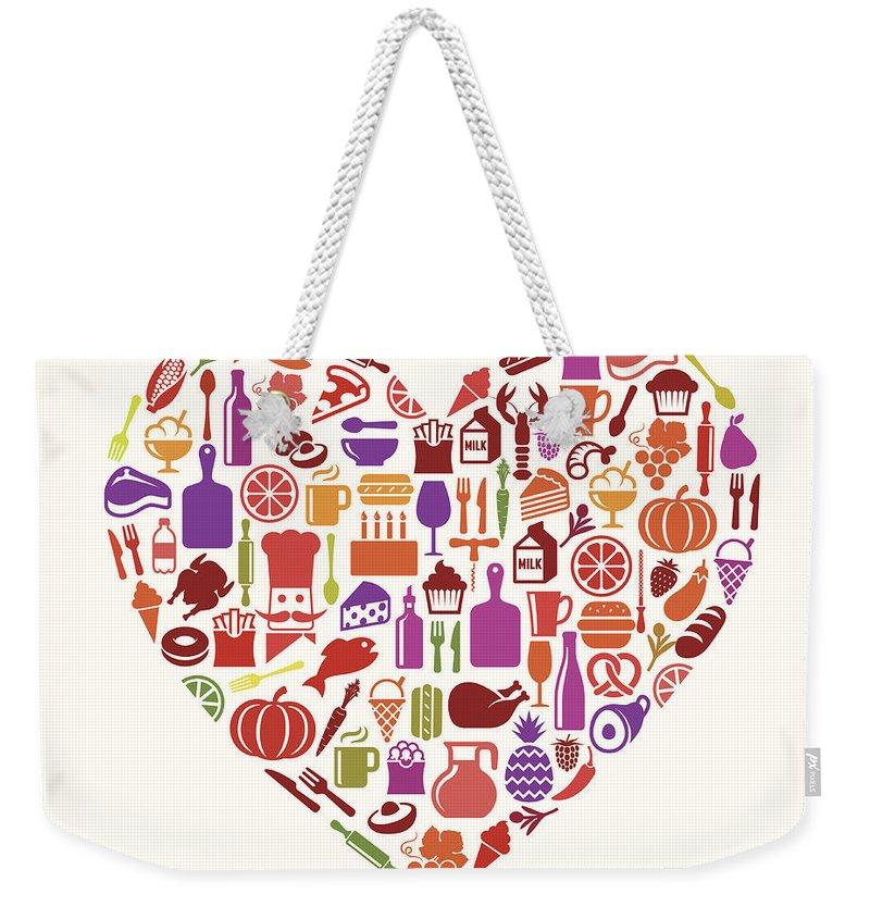 Milk Weekender Tote Bag featuring the digital art Heart Food & Drink Royalty Free Vector by Bubaone