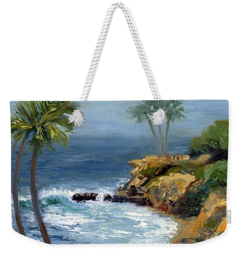 Laguna Beach Weekender Tote Bag featuring the painting Heisler Park by Alice Leggett