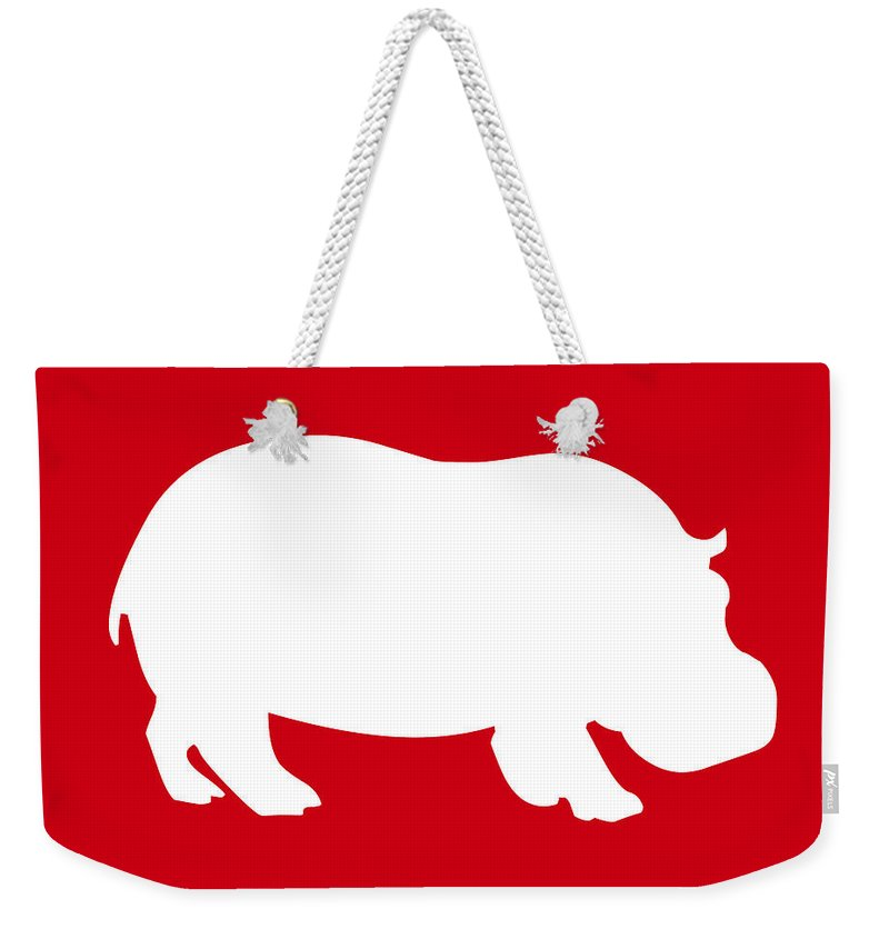 Graphic Art Weekender Tote Bag featuring the digital art Hippo In Red And White by Jackie Farnsworth