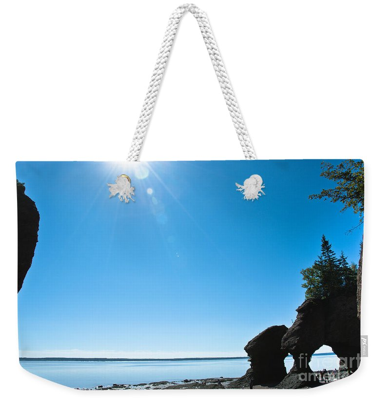 Weekender Tote Bag featuring the photograph Hopewell Rocks by Cheryl Baxter