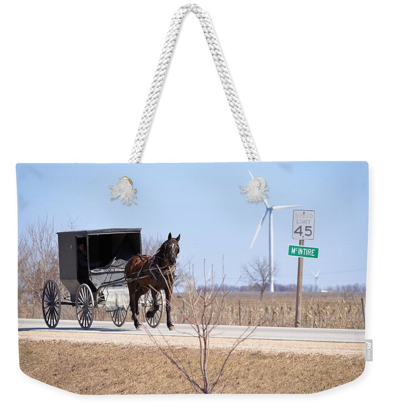 Amish Weekender Tote Bag featuring the photograph Horse And Buggy by Bonfire Photography