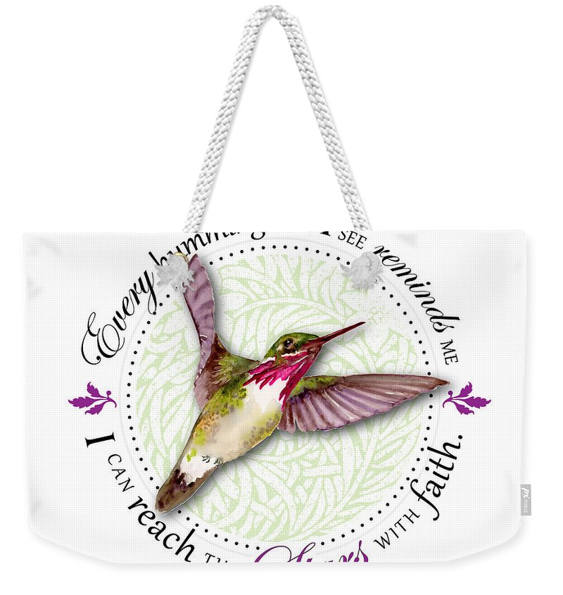 Bird Weekender Tote Bag featuring the painting I Can Reach The Stars With Faith by Amy Kirkpatrick
