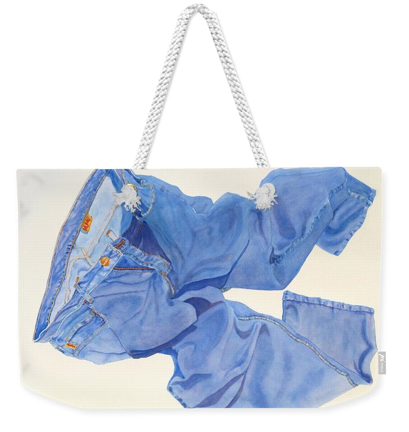 Blue Weekender Tote Bag featuring the painting Watercolor  I Love My Jeans by Mary Ellen Mueller Legault