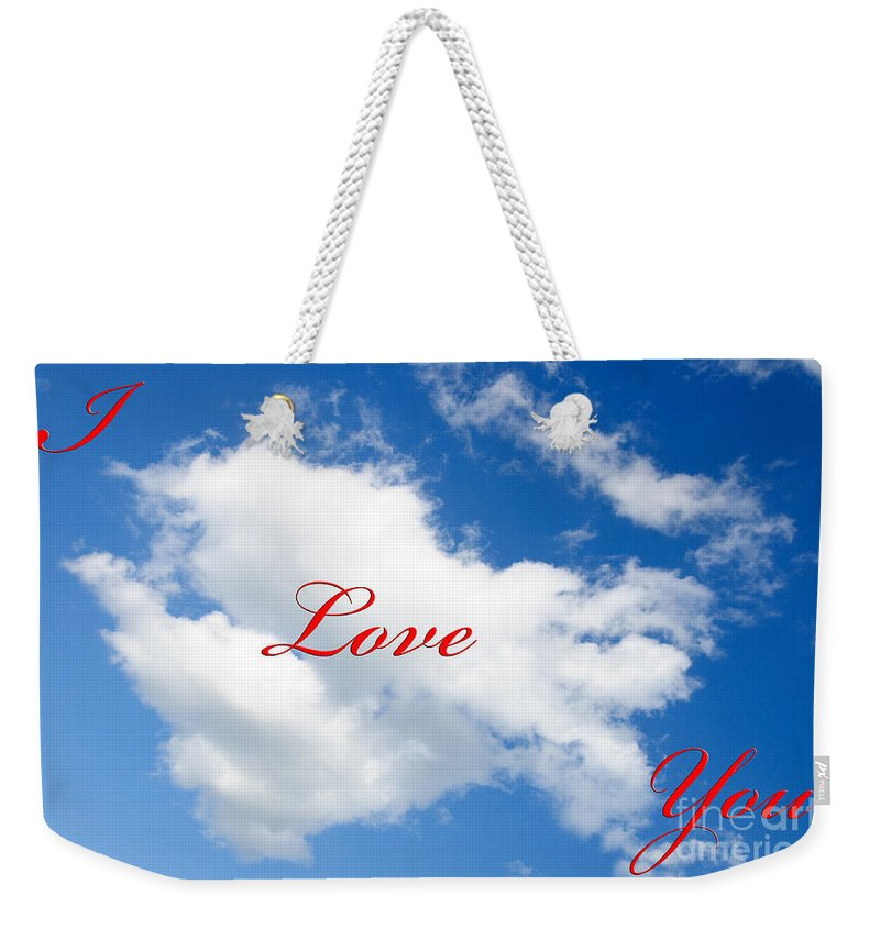 Andee Design Clouds Weekender Tote Bag featuring the photograph 1 I Love You Heart Cloud by Andee Design