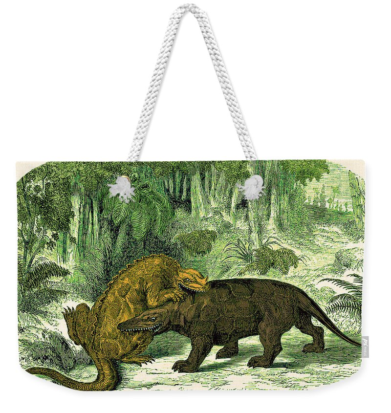 Historic Weekender Tote Bag featuring the photograph Iguanodon Biting Megalosaurus by Wellcome Images