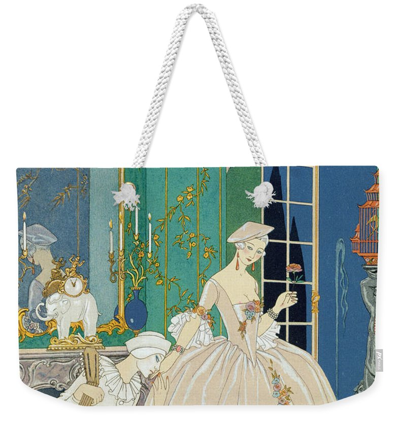 Male Weekender Tote Bag featuring the painting Illustration For 'fetes Galantes' by Georges Barbier