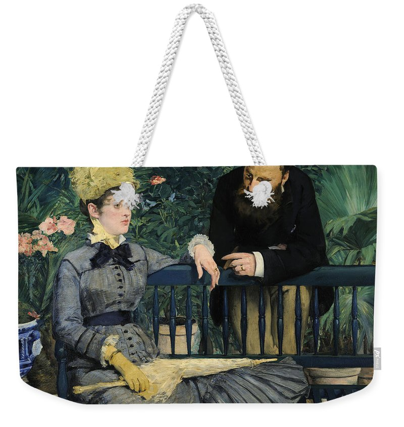 1879 Weekender Tote Bag featuring the painting In The Conservatory by Edouard Manet