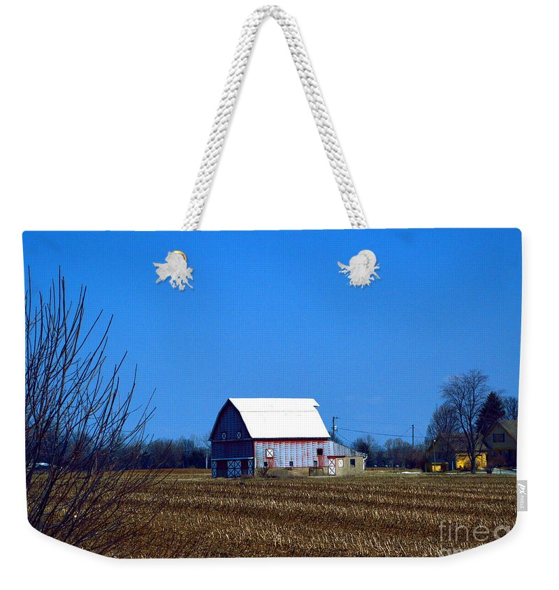 Barns Weekender Tote Bag featuring the photograph In The Heartland by Alys Caviness-Gober