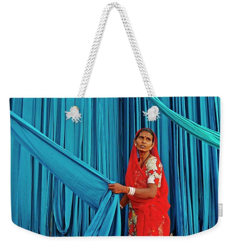 People Weekender Tote Bag featuring the photograph India, Rajasthan, Sari Factory by Tuul & Bruno Morandi