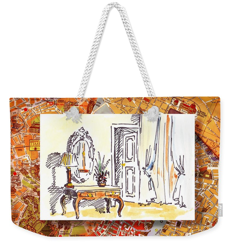 Italy Weekender Tote Bag featuring the painting Italy Sketches Venice Hotel by Irina Sztukowski