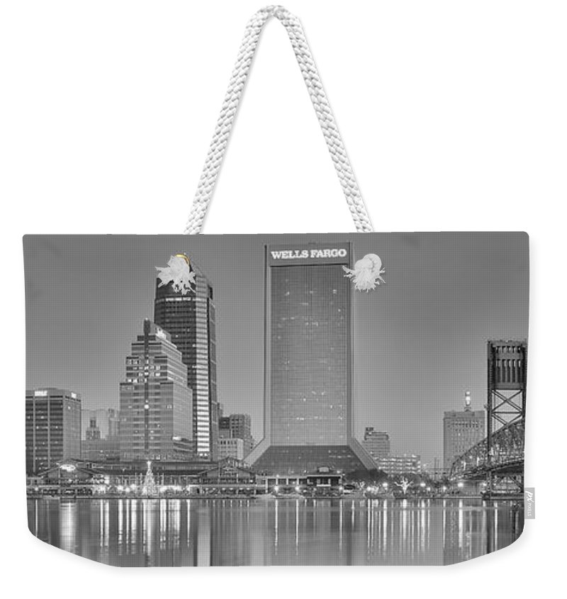 Jacksonville Weekender Tote Bag featuring the photograph Jacksonville Florida Black And White Panoramic View by Frozen in Time Fine Art Photography