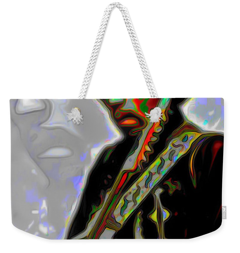 Jimi Hendrix; Jimi Hendrix Picture; Portrait Painting; Fine Art; Fine Art America; Fine Art Print; Figurative Art; Man; Modern Art; Music; Celebrity; Contemporary Art; Fli Weekender Tote Bag featuring the painting Jimi Hendrix by Fli Art