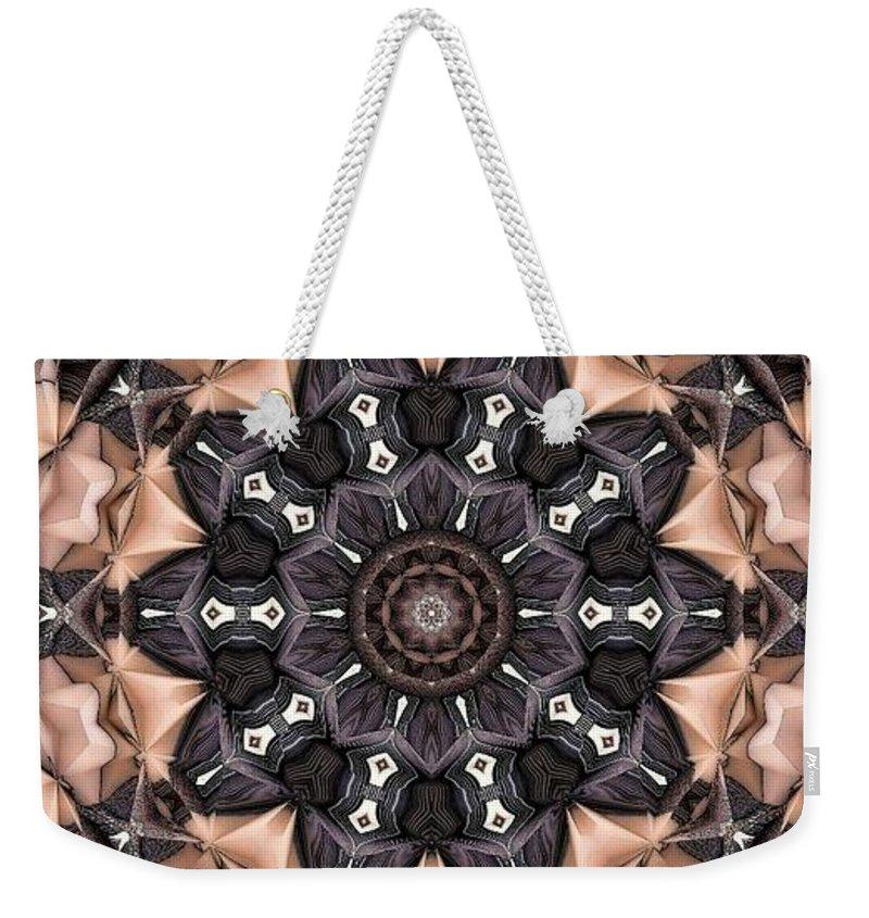 Kaleidoscope Weekender Tote Bag featuring the digital art Kaleidoscope 48 by Ron Bissett
