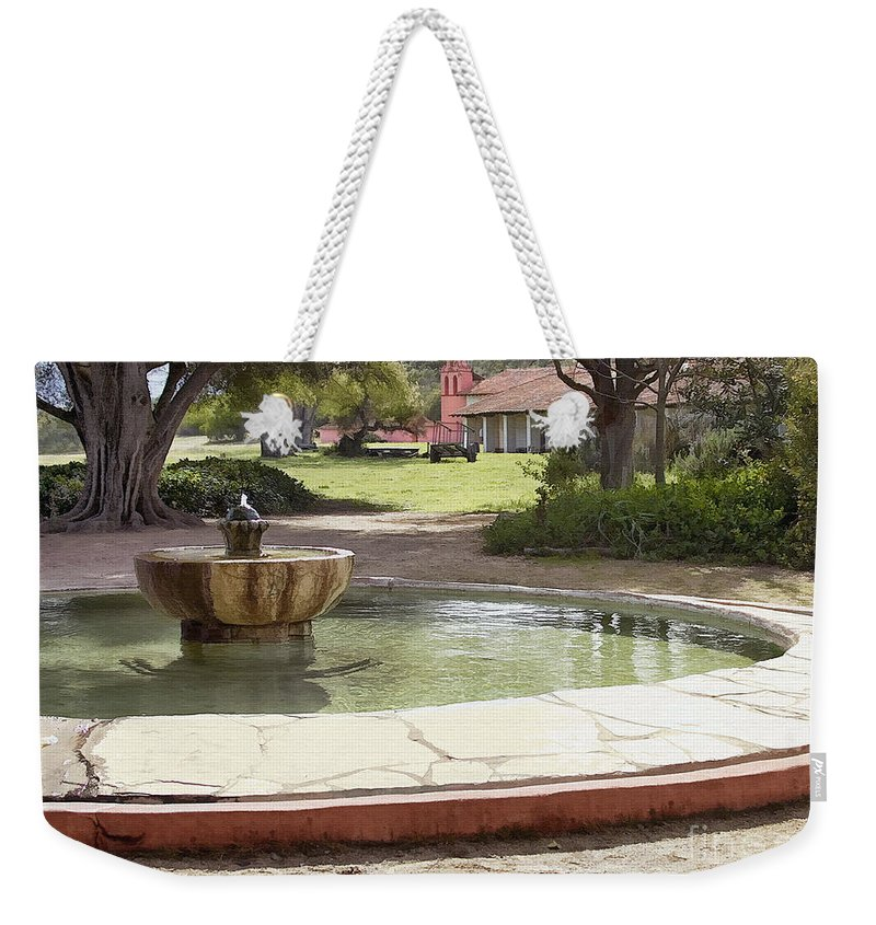 Mission Weekender Tote Bag featuring the digital art La Purisima Fountain by Sharon Foster