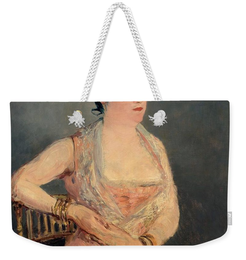 1879-1881 Weekender Tote Bag featuring the painting Lady In Pink by Edouard Manet