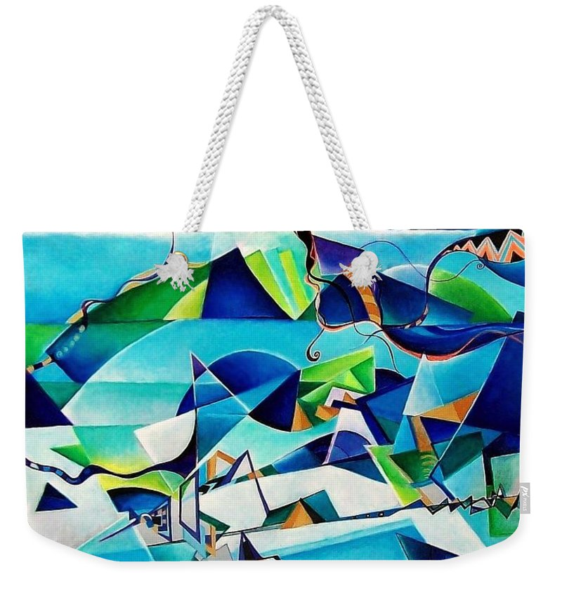Landscpae Abstract Acrylic Wood Pens Weekender Tote Bag featuring the painting Landscape by Wolfgang Schweizer