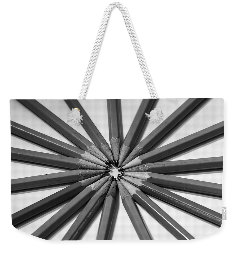 White Weekender Tote Bag featuring the photograph Lead Pencils Isolated On White by Alex Grichenko