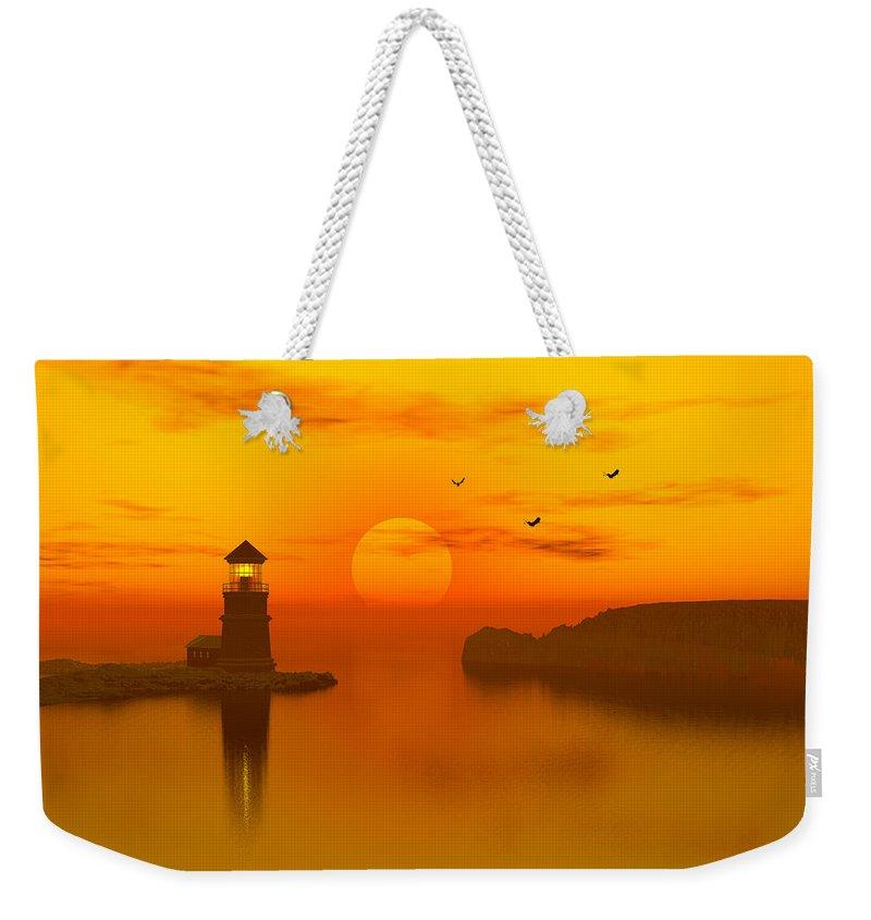 Lighthouse At Sunset Weekender Tote Bag featuring the digital art Lighthouse At Sunset by John Junek