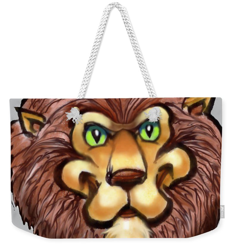Lion Weekender Tote Bag featuring the digital art Lion by Kevin Middleton
